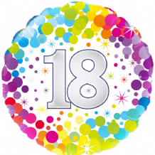 "18 Birthday Colourful Confetti Foil Balloon (18"" Oaktree) 1pc"